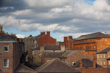 abbeys: The roofs in York in England at sunset Stock Photo