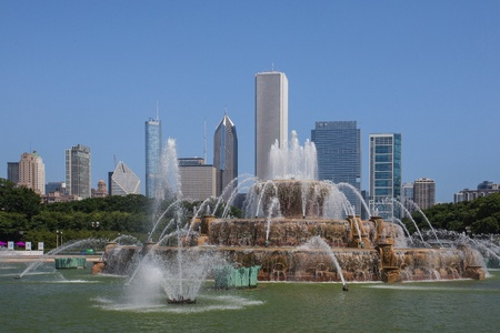 Famous Buckingham fountain in Grant Park, Chicago, USA Stock Photo