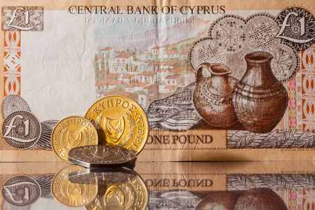 Old banknotes and coins of Cyprus photo
