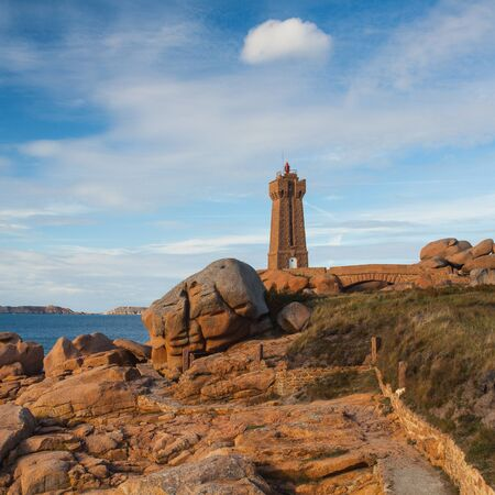 cote de granit rose: Lighthouse on the Cote De Granit Rose - impressive coast in Brittany
