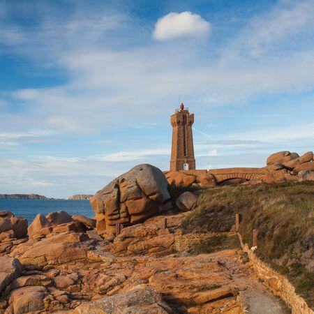 cote de granit rose: Lighthouse on the Cote De Granit Rose - impressive coast in Brittany