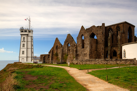abbeys: Famous abbey ruins and lighthouse ,Pointe de Saint-Mathieu, Brittany, France