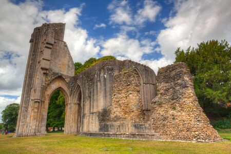abbeys: The famous historic ruins of Glastonbury Abbey in Somerset, Great Britain