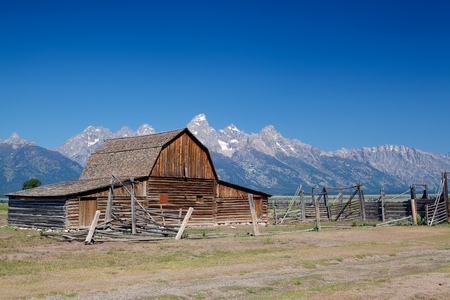 The iconic John Moulton homestead in Grand Teton in Wyoming in USA