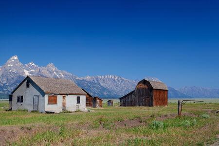 The iconic John Moulton homestead in Grand Teton in Wyoming in USA