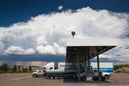 UTAH ,USA - JULY 18,2013: Typical americal petrol station  before heavy storm.