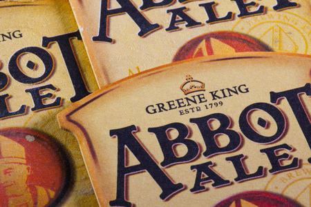 abbot: ENGLAND,LONDON - November 11, 2014: Abbot Ale is a English Pale Ale style beer brewed by Greene King  Morland Brewery in Suffolk