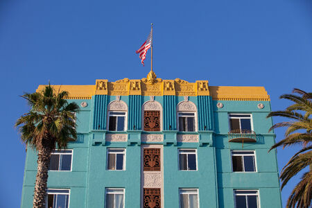 Los Angeles, USA - July 2,2011: The famous Georgian Hotel in Santa Monica, an ode to art deco, was erected in 1933. Georgian Hotel once hosted the likes of Clark Gable and Carole Lombard, Bugsy Siegel etc.