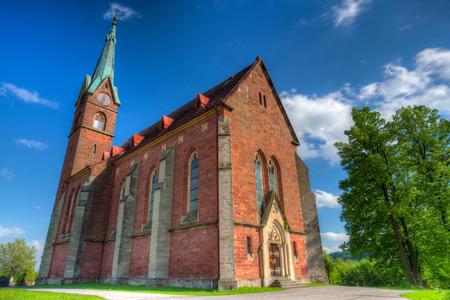 abbeys: Historic red church in Zalesni Lhota, East Bohemia - HDR Image