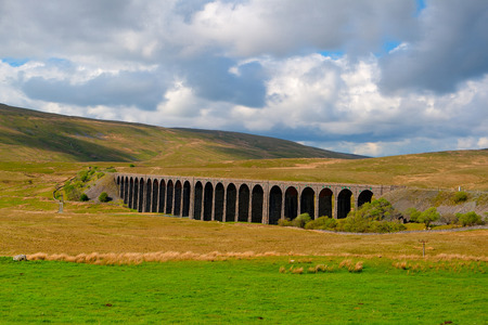yorkshire dales: Famous Ribblehead Viaduct in Yorkshire Dales,England. Stock Photo