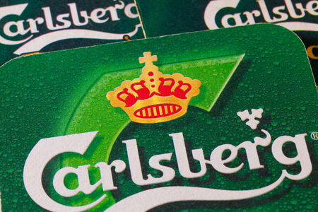 carlsberg: ENGLAND,LONDON - November 11, 2014:The Carlsberg is a Danish brewing company founded in 1847 by J. C. Jacobsen with headquarters located in Copenhagen,Denmark