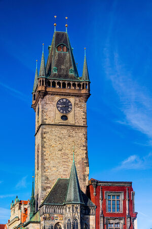 Prague, Czech Republic-June 3,2013:Famous Old Town City Hall on Old Town Square in Prague - HDR Image