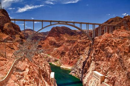 Il Ponte Hoover dalla diga di Hoover, Nevada - HDR Immagine Archivio Fotografico - 34663269
