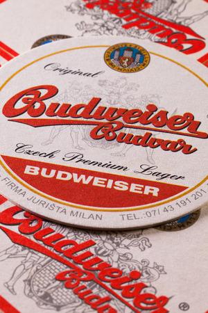 ceske: Prague,Czech Republic-December 3,2014:Beermats from Budweiser  beer.Budweiser Budvar beer is brewed only in Ceske Budejovice and is never licensed.