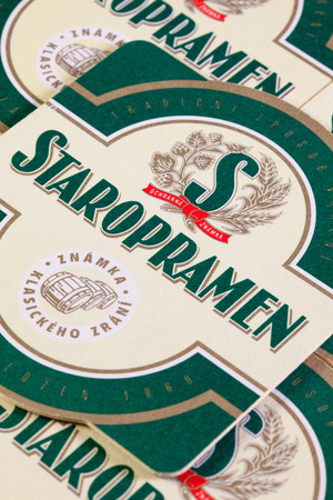 molson: Brno,Czech Republic-August 1,2014:Beermats from Staropramen beer.Staropramen Brewery is the second largest brewery in the Czech Republic.It is owned by Molson Coors
