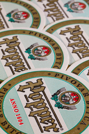family owned: Bratislava,Slovakia-May 5,2013:Beermats from Popper beer.The Bytca brewery dates back to the 16th century when the Thurzos family owned the Bytca estate.