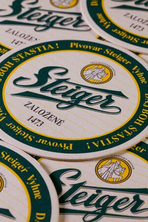 knights templar: Bratislava,Slovakia-May 5,2013:Beermats from Steiger beer. Slovakia�s oldest brewery was built in 1473 by the Knights Templar in the Banska Bystrica region