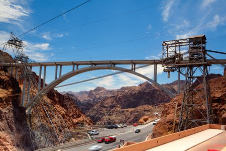 Il Ponte Hoover dalla diga di Hoover, Nevada - HDR Immagine Archivio Fotografico - 34906110