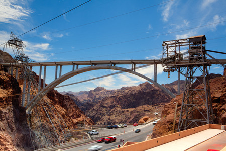 hoover dam: The Hoover Bridge from the Hoover Dam, Nevada - HDR Image