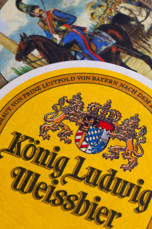 exists: Berlin,Germany-December 12,2014:Beermats from Konig Ludwig beer.The brewery as it exists today was opened in 1870 Editorial