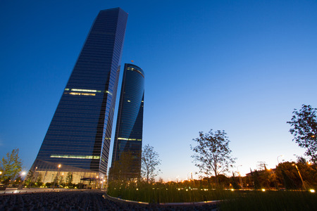 cuatro: Madrid,Spain-August 28,2010: Cuatro Torres Business Area is a business district located in the Paseo de la Castellana in Madrid.The area contains the tallest skyscrapers in Spain-Torre Espacio,Torre de Cristal,Torre PwC,Torre Caja Madrid