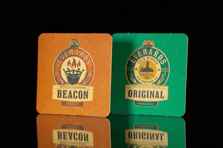 illustrative material: ENGLAND,LONDON - November 11, 2014: Beermat from Everards beer.Everards is a regional brewery based in Leicester and founded in1849 by William Everard and Thomas Hul