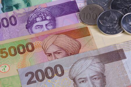 rupiah: Different Indonesian rupiah banknotes on the table Stock Photo