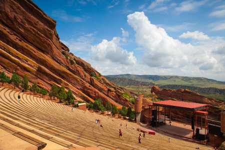 Denver, USA: July 21, 2012: Famous Red Rocks Amphitheater in Morrison. Red Rocks Amphitheatre is a rock structure near Morrison, Colorado, 10 miles west of Denver, where concerts are given in the open-air amphitheatre.