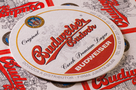 budejovice: Prague,Czech Republic-December 3,2014:Beermats from Budweiser  beer.Budweiser Budvar beer is brewed only in Ceske Budejovice and is never licensed.
