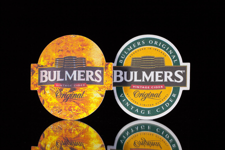 illustrative material: England,London - November 11, 2014: Beermats from Bulmers Cider.Bulmers Original Irish Cider is Irelands favorite cider