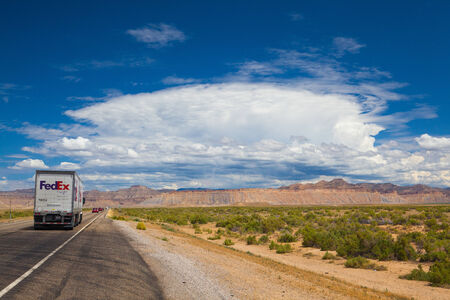 americal: Utah,USA - July 18,2013: Typical americal highway in desert in Utah.Three numbered highway systems are present in the U.S. state of Utah: the Interstate Highway System, the United States Numbered Highways system and the state route system. Editorial