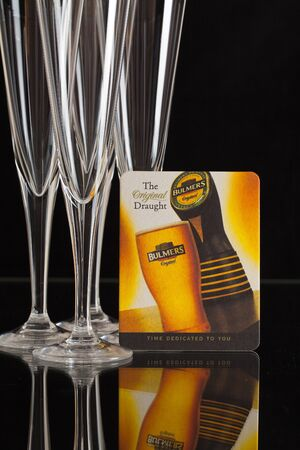 illustrative material: Berlin,Bermany - February 26, 2015: Glasess and beermat from Bulmers Cider.Bulmers Original Irish Cider is Irelands favorite cider Editorial