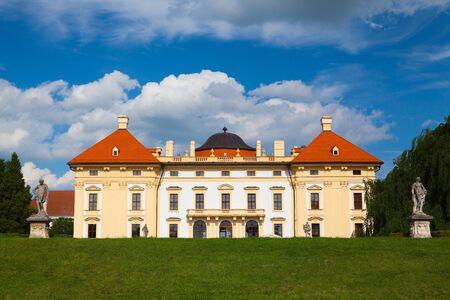 general cultural heritage: Slavkov, Czech Republic - August 20, 2014:  Baroque castle (national cultural landmark) in Slavkov - Austerlitz near Brno, South Moravia, Czech Republic.