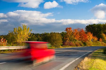krkonose: Speed car on a road in Krkonose mountain,Czech Republic