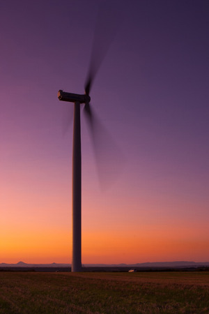 windfarm: Windfarm at sunset and sky with dust from Kasatochi volcano
