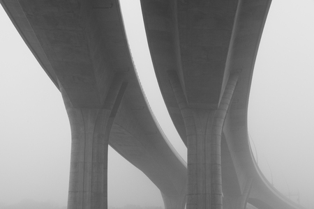 viaduct: Highway viaduct in the morning mist