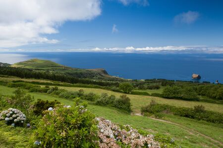 agriculture azores: Typical volcanic landscape on Terceira island, Azores Stock Photo