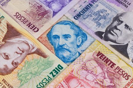 numismatic: Various banknotes from Argentina on the table