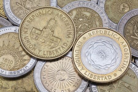 numismatic: Various coins from Argentina on the table