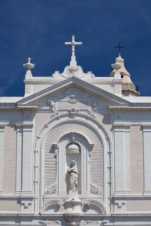 recollection: Detail of White church in port, Marseille,France Stock Photo