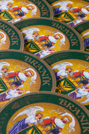molson: Prague,Czech Republic-December 3,2014:Beermats from Branik beer.Braník Brewery was founded by a group of brewmasters from small historical breweries in 1899 under the name Corporate Brewery of Prague Brewmasters.
