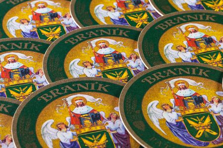 molson: Prague,Czech Republic-December 3,2014:Beermats from Branik beer.Braník Brewery was founded by a group of brewmasters from small historical breweries in 1899 under the name Corporate Brewery of Prague Brewmasters. Editorial