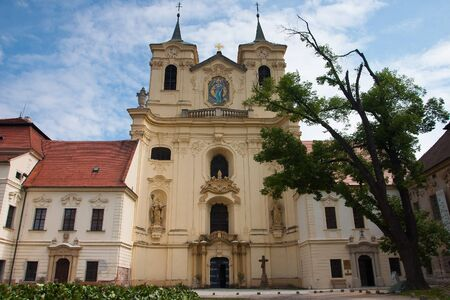 abbeys: Rajhrad,Czech Republic-April 29, 2009:Rajhrad Benediktine Monastery. There is an abbey of an old Benedictine monastery,the oldest monastery in Moravia. Giovanni B. Santini was the architect of the Baroque reconstruction of the monastery complex. Editorial