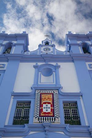recollection: Detail of Igreja da Misericordia, blue church at Angra do Heroismo, Terceira island, Azores Stock Photo
