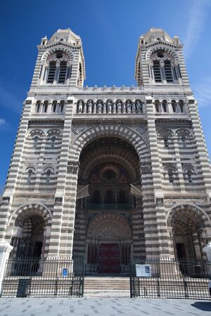 recollection: Byzantine Cathedrale La Major in Marseille, France Stock Photo