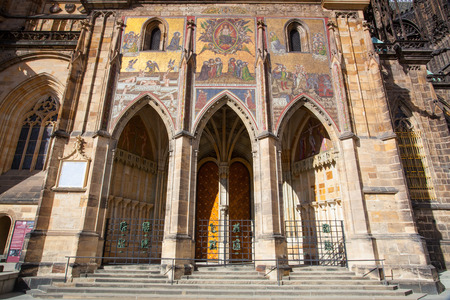 recollection: Detail of St.Vitus Cathedral - it is the largest and the most important temple in Prague.