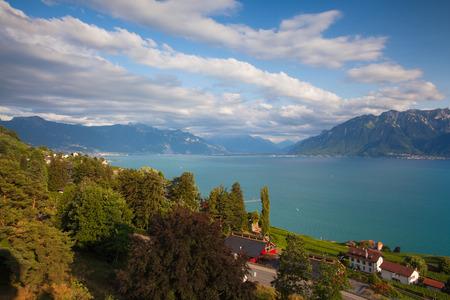 leman: Vineyards of the Chexbres region over lake Leman (lake of Geneva),Switzerland Stock Photo