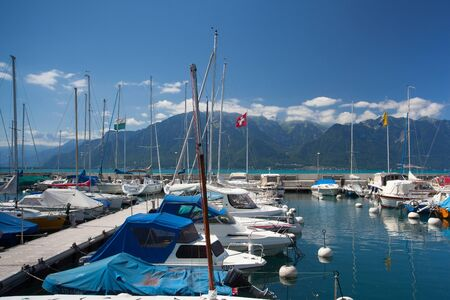 vevey: Vevey, Switzerland - July 8, 2015: Port in Vevey at Geneva lake in Switzerland.
