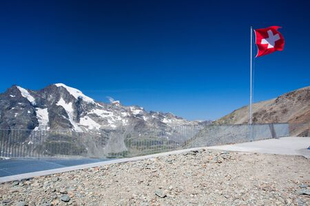 glaciers: View from the Diavolezza to the mountains and glaciers,Switzerland Stock Photo