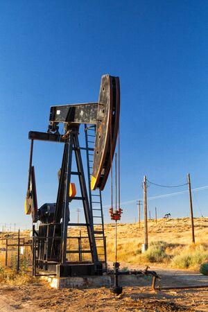 nevada desert: Working oil pump in Nevada desert,  America